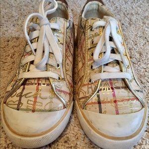 84a39c746c3 Coach Shoes - Coach Gold Graffiti Tennis Shoes